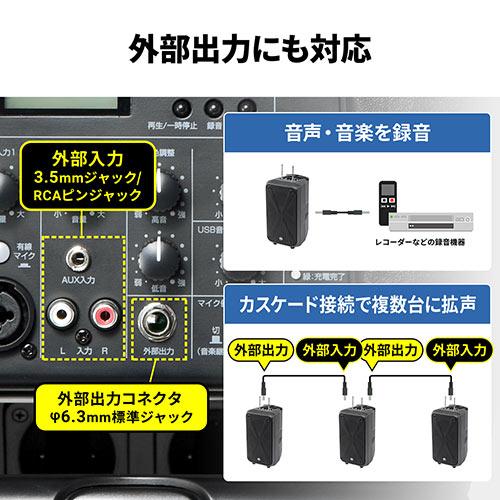 ワイヤレスマイク・スピーカーセット(PAシステム・拡声器・ワイヤレスマイク2本付・無線・大人数・会議/イベント/選挙対応・高出力200W・授業・飛散・飛沫防止)