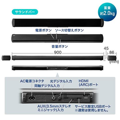 【ハロウィンセール】サウンドバー(テレビスピーカー・Bluetooth対応・最大200W出力・ワイヤレスサブウーハー・HDMI接続・ARC対応)