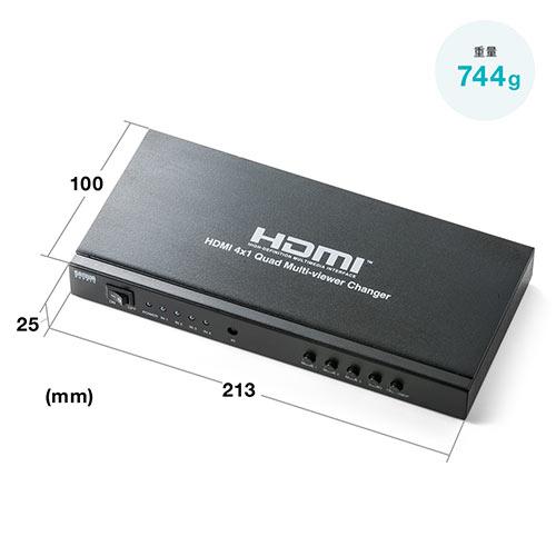 HDMI画面分割切替器(4画面分割・マルチビューワー・フルHD対応・4入力・1出力・オートスキャン機能搭載・リモコン・ACアダプタ付属)