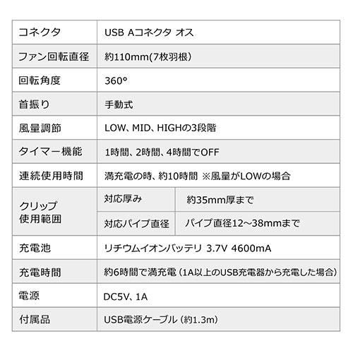 USB扇風機(USB接続・充電式・マグネット・クリップ・3WAY・静音・360°・ブラック)