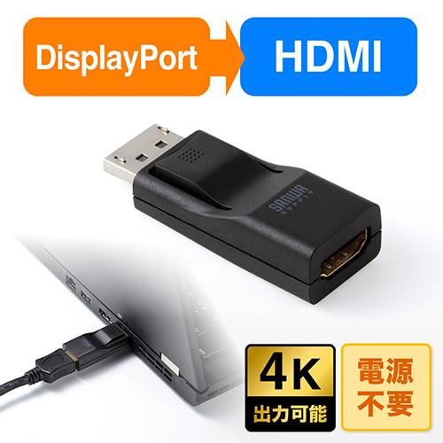 DisplayPort-HDMI変換アダプター(4K出力可能)