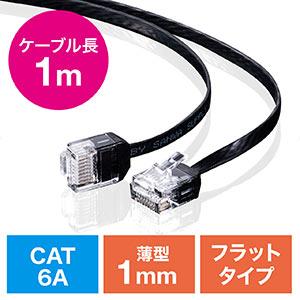 LANケーブル(カテ6A・より線・ストレート・フラット・ブラック・1m)