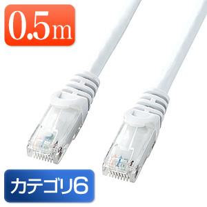 Cat6 LANケーブル 0.5m (カテゴリー6・より線・ストレート・ホワイト)