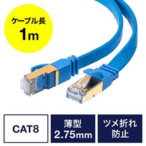 LANケーブル(カテ8・カテゴリー8・CAT8・40Gbps・2000MHz・より線・フラット・エイリアンクロストーク・1m)