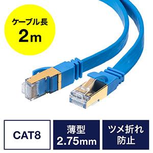 LANケーブル(カテ8・カテゴリー8・CAT8・40Gbps・2000MHz・より線・フラット・エイリアンクロストーク・2m)