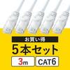 【5本セット】CAT6 LANケーブル(3m・より線・ホワイト)