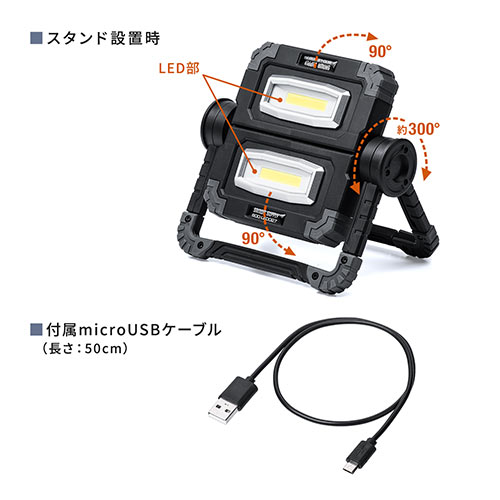 LED投光器(作業灯・充電式・屋外・アウトドア・最大20W・480ルーメン・バッテリー内蔵・COBチップ)