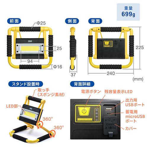 LED投光器(充電式・防水規格IPX4・20W・屋外・アウトドア・防災・LEDライト)
