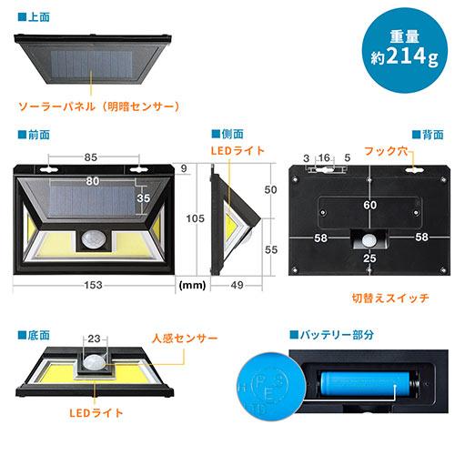 人感センサー付きLEDライト(ソーラー充電式・屋外用・壁設置・防水防塵・IP54・300ルーメン・2個セット)