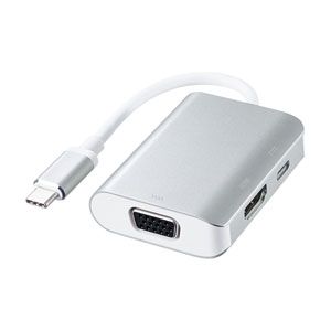 USB Type C-HDMI/VGA変換アダプタ(映像出力・HDMI/VGA同時出力可)