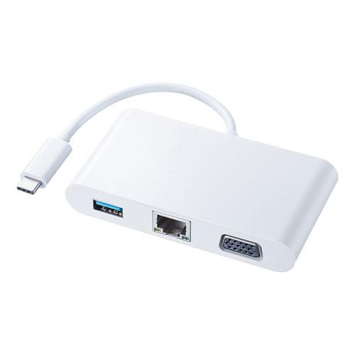 USB Type C-VGAマルチ変換アダプタ(LANポート付き・PD充電)