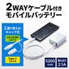 モバイルバッテリー(5200mAh・Type-Cアダプタ付き・ホワイト)