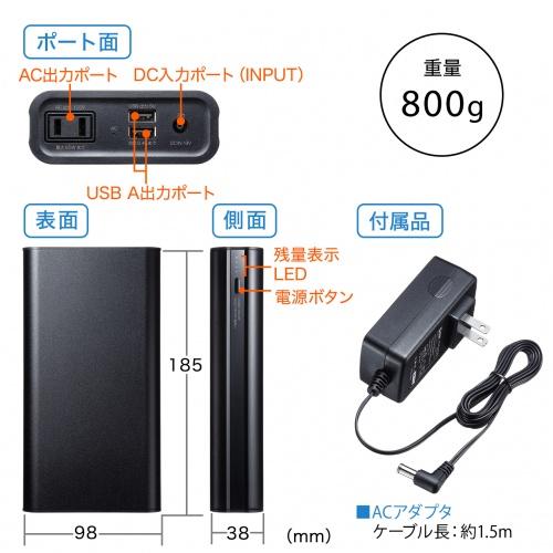 モバイルバッテリー(モバイル電源・USB充電・AC出力対応・65W・20000mAh・USBA2ポート)