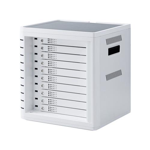 iPad・タブレット収納個別鍵付きキャビネット(10台収納・ホワイト)