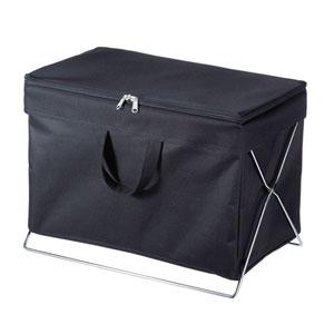 折りたたみ式蓋付き手荷物収納ボックス(ブラック)