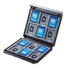 メモリーカードケース(SDカード12枚+microSDカード12枚・ハードケース・衝撃吸収・ブラック)