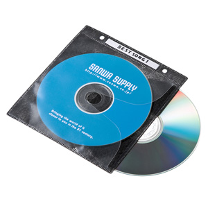 【わけあり在庫処分】DVD・CD不織布ケース(リング穴付き・50枚入り・ブラック)