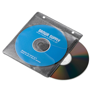 CD/DVD不織布ケース(リング穴付き・50枚入り・ブラック)