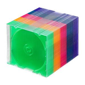 CD・DVD・ブルーレイ ケース(スリム・30枚セット・5色ミックス)