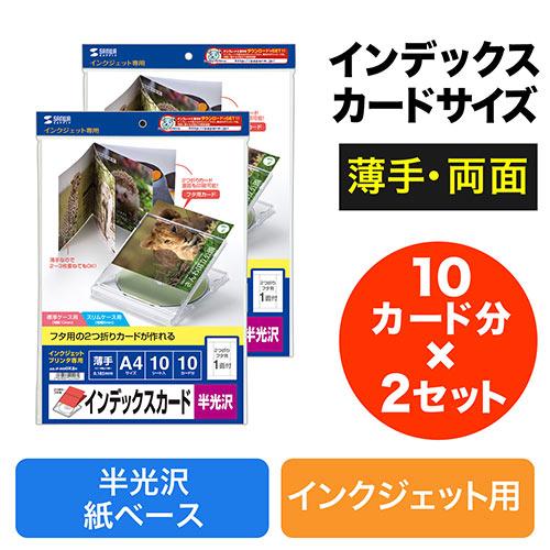 2つ折りインデックスカード(薄手・半光沢・10カード分×2セット)