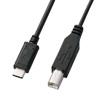 USB2.0 Bコネクタ-Type Cケーブル(ブラック・2m)