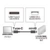 USB2.0 miniBコネクタ-Type Cケーブル(ブラック・1m)