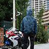 空調服(サンエス製・作業服単体・フード付き長袖ブルゾン・タフタ/ポリエステル100%・XLサイズ・チャコール)