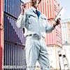 空調服(サンエス製・作業服単体・長袖ワークブルゾン・ポリエステル75%/綿25%・LLサイズ・ネイビー)