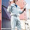 空調服(サンエス製・作業服・フラットハイパワーファン&日本製バッテリー付・長袖ワークブルゾン・ポリエステル75%/綿25%・XLサイズ・ネイビー)