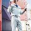 空調服(サンエス製・作業服・フラットハイパワーファン&日本製バッテリー付・長袖ワークブルゾン・ポリエステル75%/綿25%・XLサイズ・シルバー)