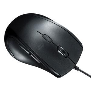 有線マウス(USB接続・左利き用・ブルーLED・静音・5ボタン・ブラック)
