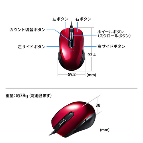 有線マウス(ブルーLED・左右対称・5ボタン・レッド)