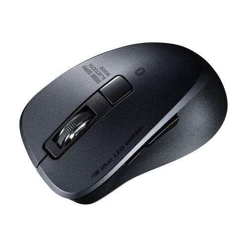 静音Bluetooth 5.0 ブルーLEDマウス(5ボタン・ブラック)