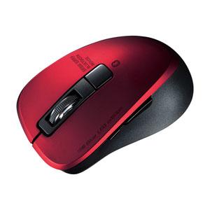静音Bluetooth 5.0 ブルーLEDマウス(5ボタン・レッド)