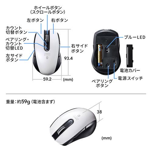 Bluetoothマウス(ブルーLED・左右対称・5ボタン・ホワイト)