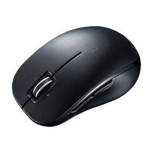 静音Bluetooth5.0ブルーLEDマウス(5ボタン・チルトホイール・ブラック)