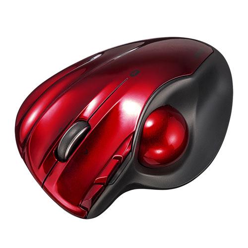 【わけあり在庫処分】ワイヤレストラックボール(Bluetooth4.0・レーザーセンサー・左右スクロール・レッド)