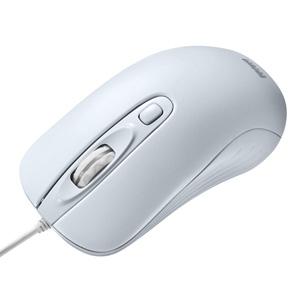 有線レーザーマウス(カウント切り替え機能付き・大型・ホワイト)