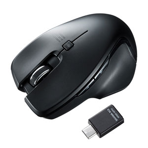 ワイヤレスマウス(Type-C・ブルーLED・ブラック)