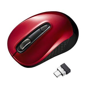 ワイヤレスType-CブルーLEDマウス レッド