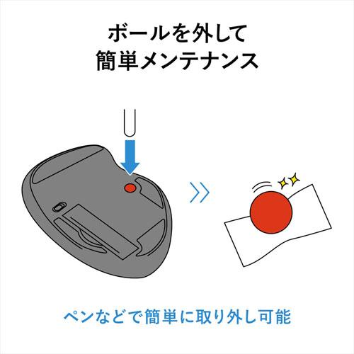 ワイヤレスレーザートラックボール(左右スクロール・ブラック)
