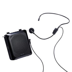 ポータブル拡声器 14W出力 ハンズフリー ヘッドマイク付き 音楽再生機能つき