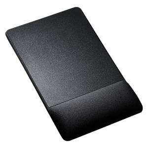 【わけあり在庫処分】リストレスト付きマウスパッド(布素材、高さ22.5mm、ブラック)