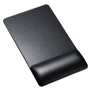 【わけあり在庫処分】リストレスト付きマウスパッド(レザー調素材、高さ22.5mm、ブラック)