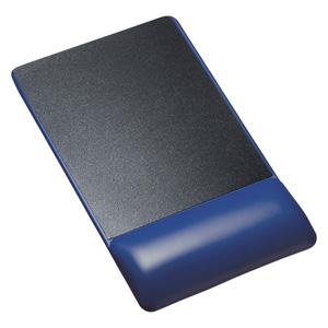 【わけあり在庫処分】リストレスト付きマウスパッド(レザー調素材、高さ22.5mm、ブルー)