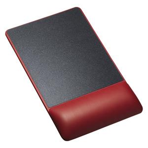 【わけあり在庫処分】リストレスト付きマウスパッド(レザー調素材、高さ22.5mm、レッド)