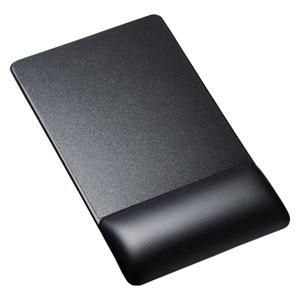 リストレスト付きマウスパッド(レザー調素材、高さ18.5mm、ブラック)