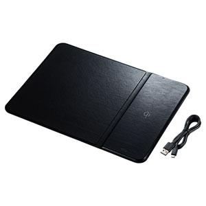 ワイヤレス充電マウスパッド(置くだけ充電・ワイヤレス充電・Qi対応・ブラック)