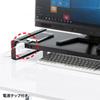 机上ラック(電源タップ+USBハブ付き・W1000×D250mm・ブラック)