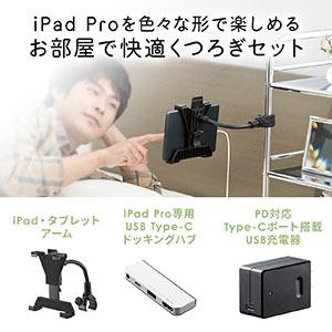 iPad 寝ながらにも対応 タブレットアーム 映像出力対応Type-Cハブ PD充電器セット
